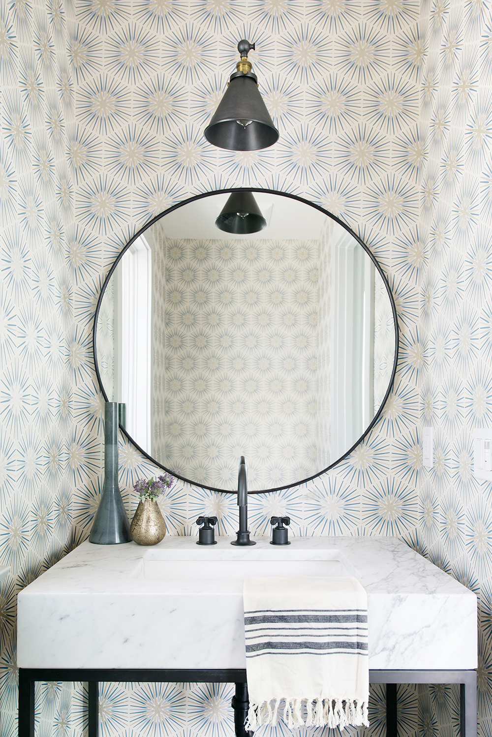 wallpaper in the powder room