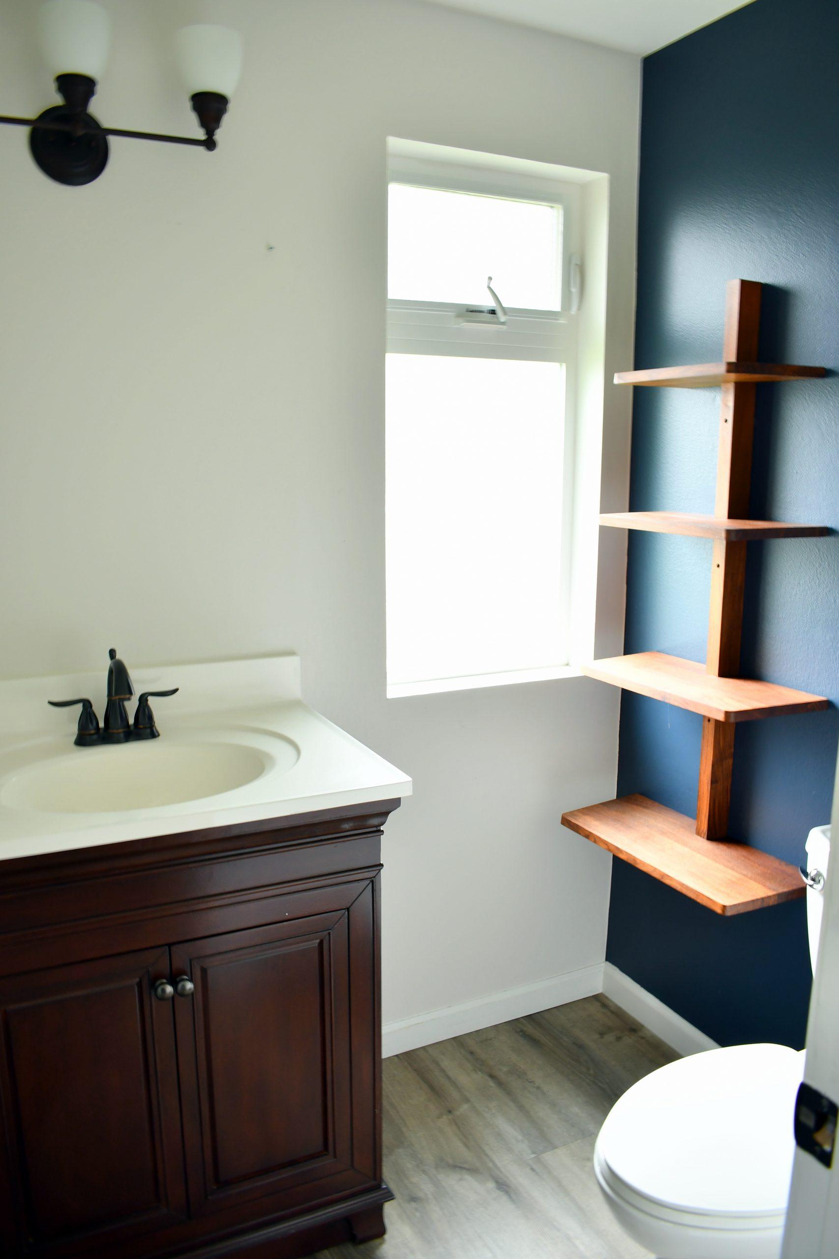 Powder room before shot of half-bath water closet